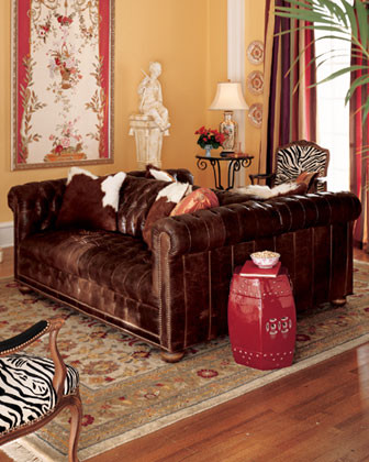 Old Hickory Tannery Leather Double-Sided Sofa traditional-sofas
