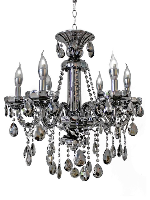 6-Light Smoked Black Crystal Venetian Chandelier Light contemporary-chandeliers