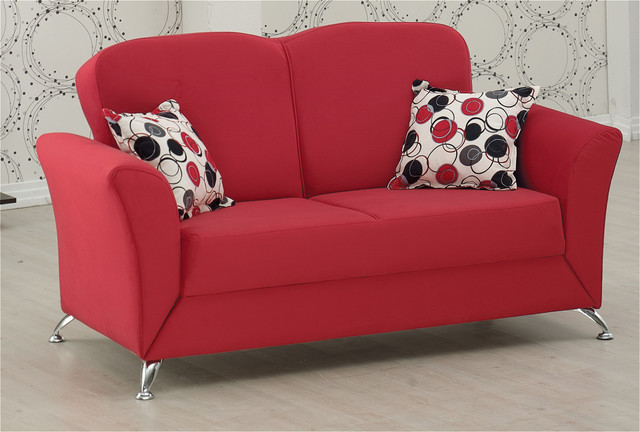 Roma Loveseat In Red Microfiber Modern Loveseats By