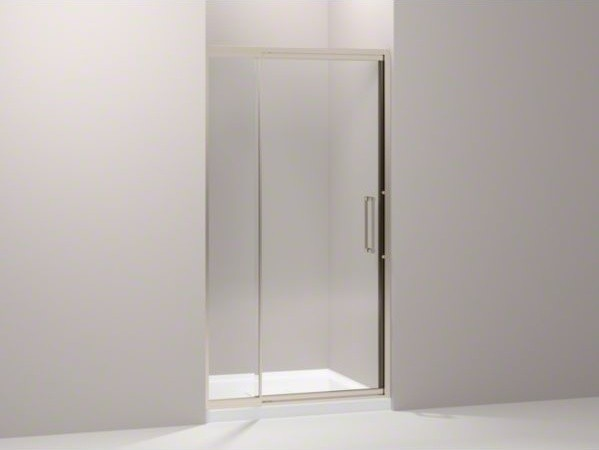 "KOHLER Lattis(R) pivot shower door, 76"" H x 39 - 42"" W, with 1/4"" thick Crystal contemporary-showers"
