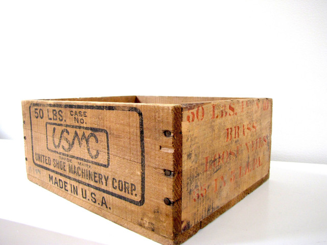 United Shoe Machinery Wood Crate by FrenchByDesign eclectic-storage ...
