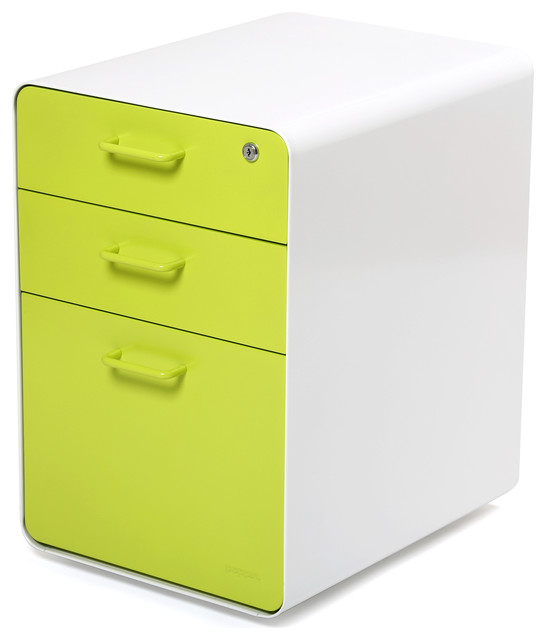West 18th File Cabinet, White/Lime Green - Modern - Filing Cabinets