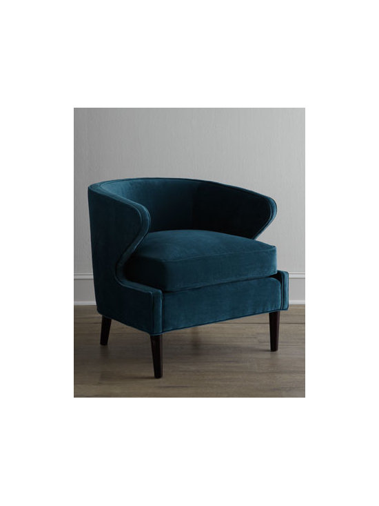 "Horchow - Percilla Chair - Barrel chair with wide, extended arms invites you to settle in and stay a while. Engineered hardwood frame with ""metropolitan"" finish. Peacock-blue polyester upholstery. Mortise-and-tenon frame construction. 28""W x 31""D x 28.5""T. Handcrafted in the..."