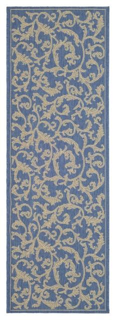 """Safavieh Blue/Natural Indoor/Outdoor Water-Resistant Rug (2'2"""" x 12') contemporary-doormats"""