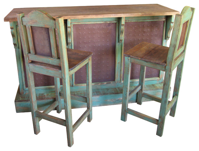 Rustic Painted Wood Bar Set W Metal Panels 3 Stools Rustic Indoor Pub And Bistro Sets