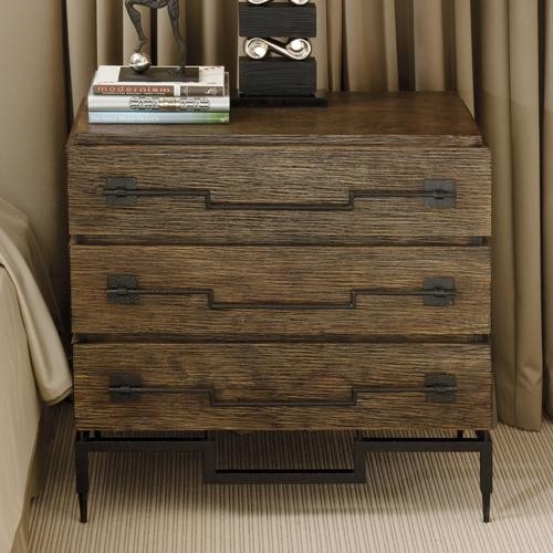 Global Views Chest: Global Views 3 Drawer Wide Chest-Dark Brushed Mango