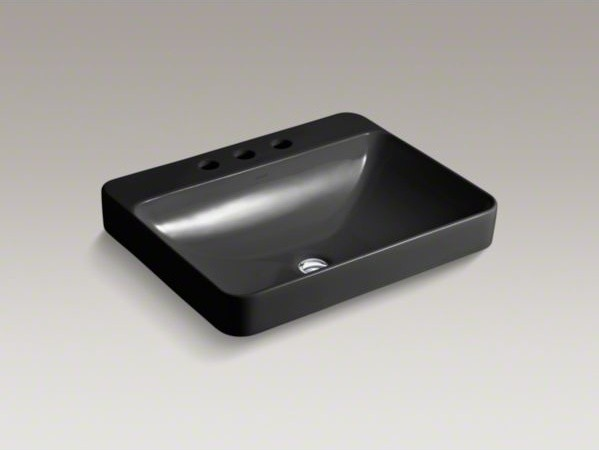 KOHLER Vox(R) Rectangle Vessel above-counter bathroom sink with widespread fauce contemporary-bathroom-sinks