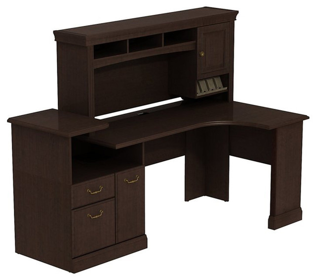 ... Expandable Corner Desk with Hutch in Mocha Cherry transitional-desks