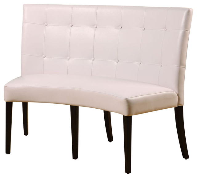 White Banquette: Modus Bossa Dining Height Leatherette Banquette