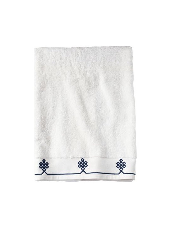 Serena & Lily - Navy Gobi Bath Towel - We believe a bath towel should be one of life's little luxuries. Woven in Portugal from supremely soft cotton, they're lofty, absorbent and quick to dry. The embroidered motif was borrowed from our best-selling sheets, adding the perfect color pop to classic white bath and hand towels. Best of all  they won't fade, fray or wear out.