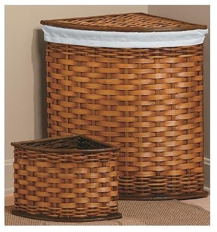 Bamboo Corner Hamper and Wastebasket Set (Set of 4 ...