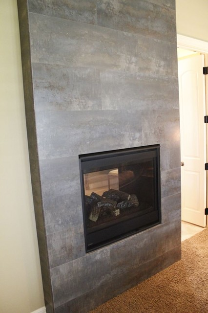 Tile fireplace modern indoor fireplaces kansas city by kenny 39 s tile floor covering - Large contemporary stone fireplace ...