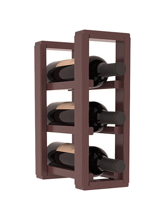 Wine Racks America® - 3 Bottle Counter Top/Pantry Wine Rack in Pine, Walnut Stain + Satin Finish - These counter top wine racks are ideal for any pantry or kitchen setting.  These wine racks are also great for maximizing odd-sized/unused storage space.  They are available in furniture grade Ponderosa Pine, or Premium Redwood along with optional 6 stains and satin finish.  With 1-10 columns available, these racks will accommodate most any space!!