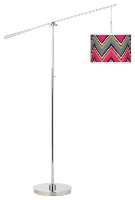 Contemporary Stacy Garcia Chevron Pride Pink Giclee Boom Arm Floor Lamp contemporary-floor-lamps