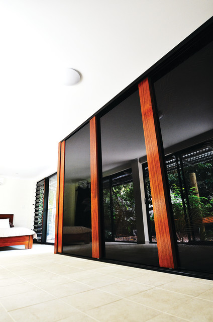 Black Glass and Timber Frames Sliding Doors contemporary-bedroom-products