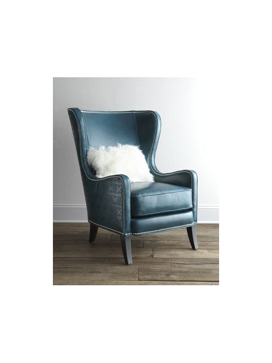 """Massoud - Massoud """"Glenmore"""" Wing Chair - Irresistible color accented with silvery nailhead trim and a classic silhouette give this wing chair show-stopping appeal. Handcrafted of furniture-grade hardwood with 100% leather upholstery. Sheepskin pillow included. Suspended coil-spring system....."""