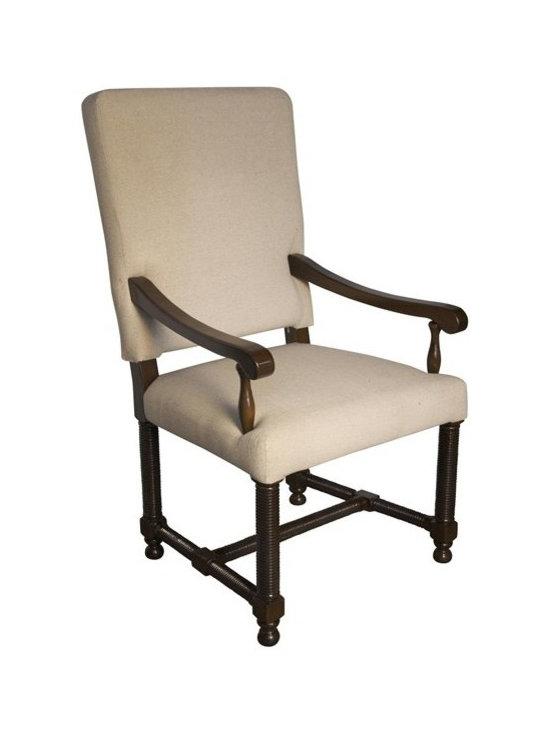 NOIR - NOIR Furniture - Spanish Arm Chair - GCHA115A, Distressed Brown - Features: