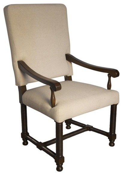 Noir Furniture Spanish Arm Chair Gcha115a Distressed Brown Traditional Armchairs And