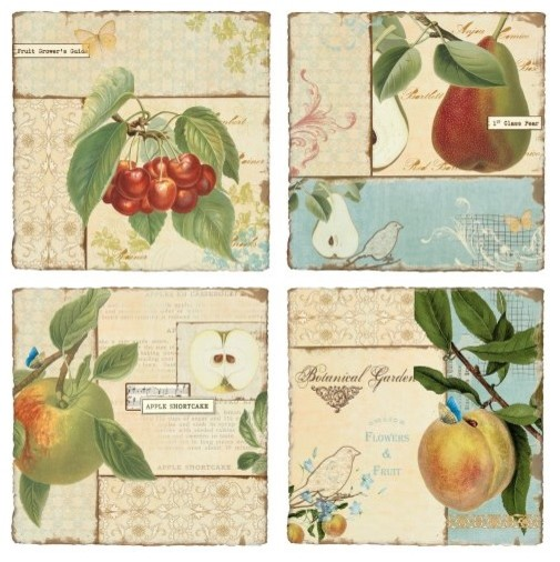 Vintage Fruit Wall Decor : Vintage fruit resin outdoor wall art set of