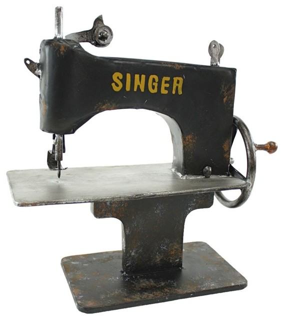 Singer Metal Sewing Machine Decor - Rustic - Decorative Objects And Figurines - by ShopLadder