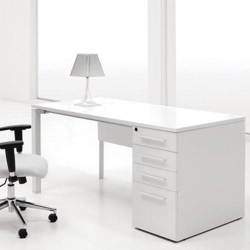 Jesper Single Pedestal puter Desk White Lacquer
