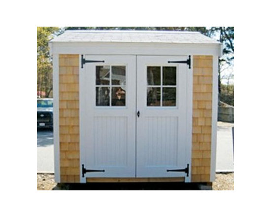 4' x 8' Cuddyhunk - This 4' x 8' Cuddhunk lean-to design is shown with 5' straight top beaded doors with windows. Standard painted white trim. Natural cedar shingle siding on 3 walls and back wall standard MDO panels with applied molded battens stained Driftwood.