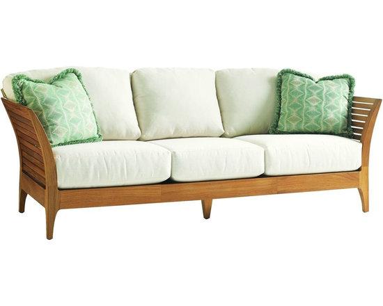 Lexington - Tommy Bahama Tres Chic Sofa - Horizontal slats and graceful flared arms achieve an original, contemporary look.
