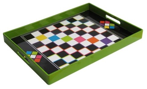 Green Checker Tray modern-serving-dishes-and-platters