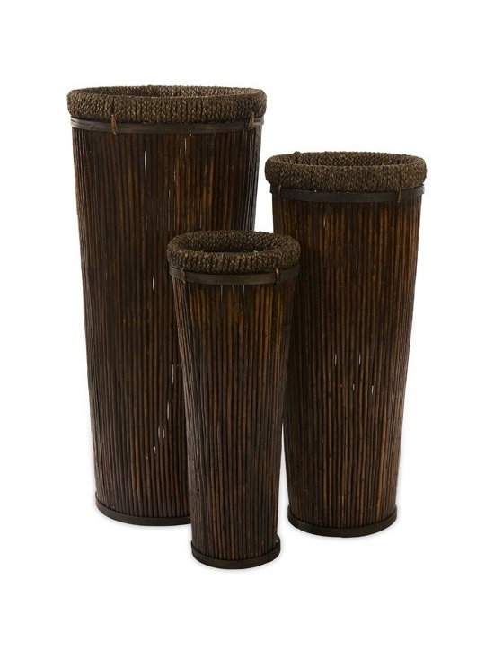 """IMAX CORPORATION - Langham Tall Willow Planters - Set of 3 - Exotic, dark brown set of three tall planters in graduated sizes. Made of willow. Set of 3 in various sizes measuring around 42.25""""L x 19""""W x 19""""H each. Shop home furnishings, decor, and accessories from Posh Urban Furnishings. Beautiful, stylish furniture and decor that will brighten your home instantly. Shop modern, traditional, vintage, and world designs."""