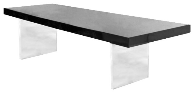 Lucite Plinth Dining Table 8' Black traditional-dining-tables
