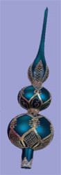 Peacock Blue Finial Christmas Tree Topper traditional holiday decorations