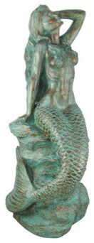 30 Inch Tall Mermaid On Rock Statue Verdigris Finish contemporary-garden-statues-and-yard-art