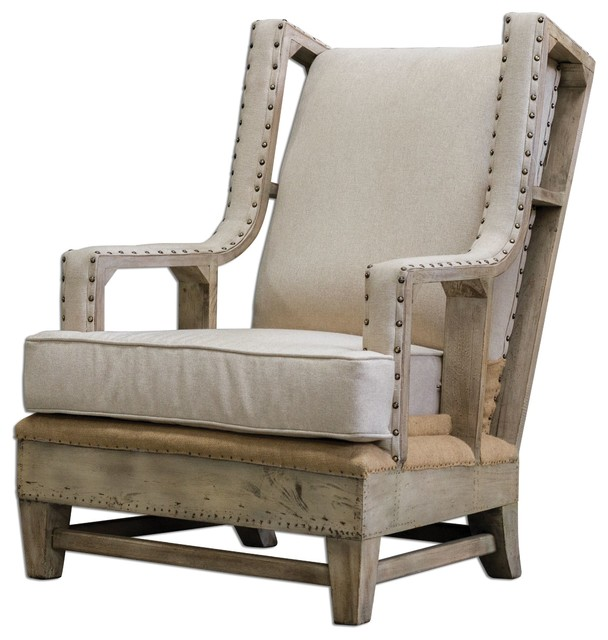 Uttermost Schafer Linen Armchair - Rustic - Armchairs And ...
