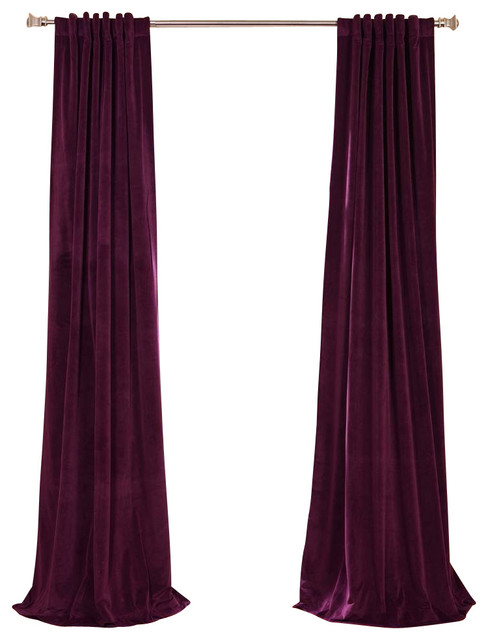 Signature Eggplant Blackout Velvet Curtain traditional-curtains