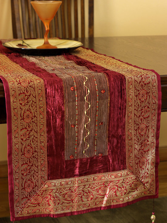 """Elegant Table Runners - Unique Velvet and Silk """"Arabian Table Runner"""" Passion Red color. Beautifully hand crafted in India. Gold"""