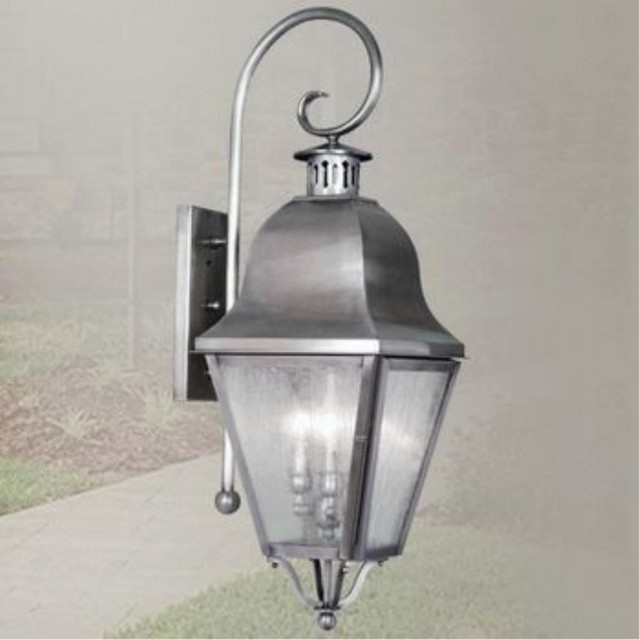 Livex Lighting-2555-Amwell - Three Light Outdoor Wall Sconce traditional-outdoor-lighting