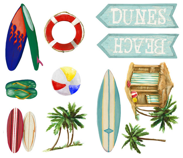 Surfs up Surfboards 24pc Self-Stick Wall Accent Stickers Set modern-wall-decals