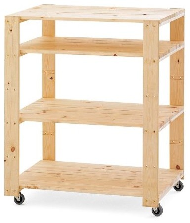 Swedish Wood Shelving Utility Cart with Wheels