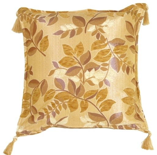 Decorative Cream Pillows : Pillow Decor - Leaf Textures in Neutral and Cream Throw Pillow - Contemporary - Decorative ...