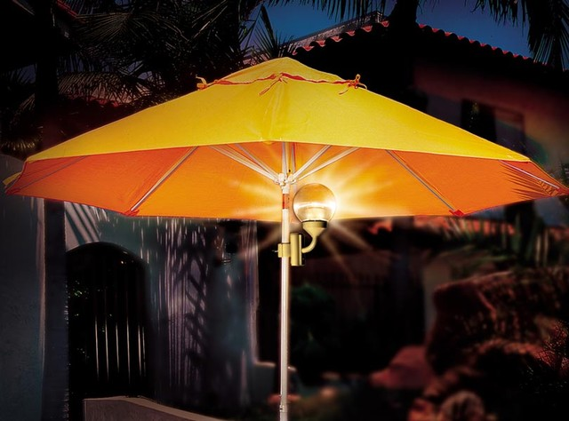 battery powered umbrella light clamps to patio umbrella sphere light. Black Bedroom Furniture Sets. Home Design Ideas