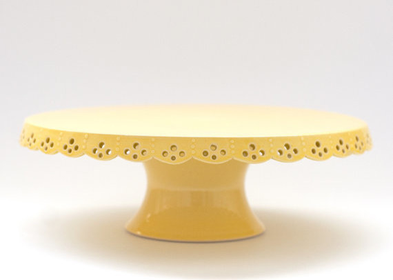 Lace Cake Stand, Yellow by Jeanette Zeis Ceramics ...