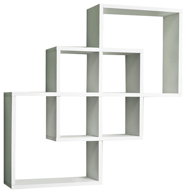 intersecting squares decorative wall shelf white. Black Bedroom Furniture Sets. Home Design Ideas
