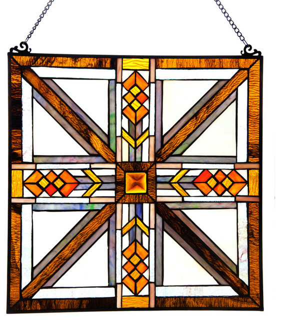 Stained glass southwestern mission style amber brown white for 20 40 window missions