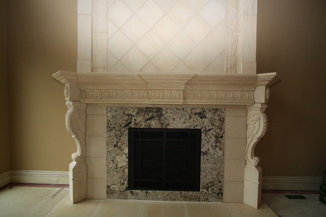 Cast Stone Fireplace traditional-family-room