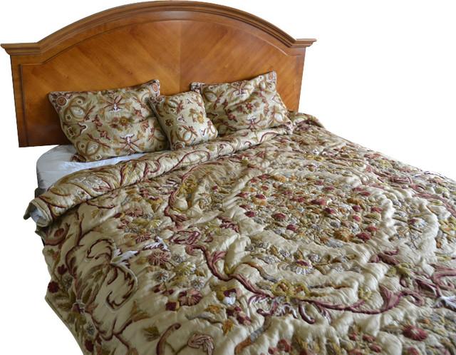 Crewel Bedding Art Nouveau Desert Sand Silk Organza, King Size craftsman-duvet-covers