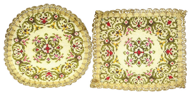 Pair of Consigned Vintage French Doilies Green Red traditional-table-linens