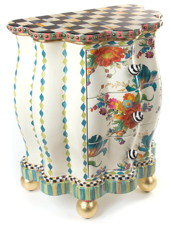 Blue Tulip Chairside Chest | MacKenzie-Childs - Is there any such thing as too much fun? We don't think so. Top to bottom, our whimsical chest is a lighthearted addition to any space, with a hand-painted Courtly Check® top, edged with salmon and green stripes; antique brass nailhead trim; floral bouquet decals on the drawer fronts; and aqua and moss diamonds and stripes on the base. Gold leaf ball feet, black and white ceramic swirl knobs. Imported chest, hand decorated in Aurora.