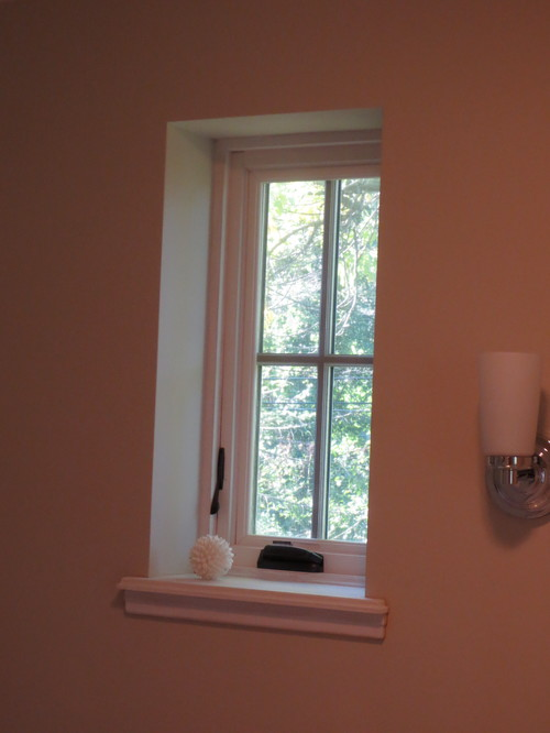 Window treatment for bathroom windows for 1940s window treatments