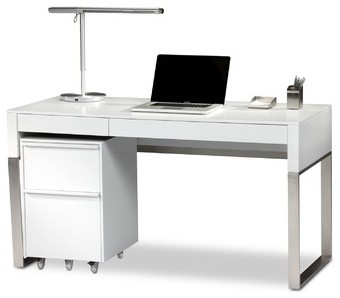 Cascadia 2 Drawer Reversible Computer Desk modern-desks-and-hutches
