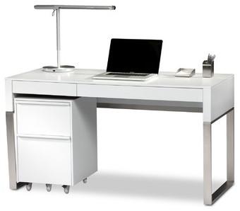 Cascadia 2 Drawer Reversible Computer Desk - Modern - Desks And Hutches - by AllModern